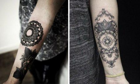 Tattoo auf Unterarm Frau geometrische und florale Motive