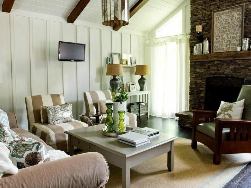 Wohnzimmer Gestalten Langhausstil Neutrale Farben Akzentwand Holz