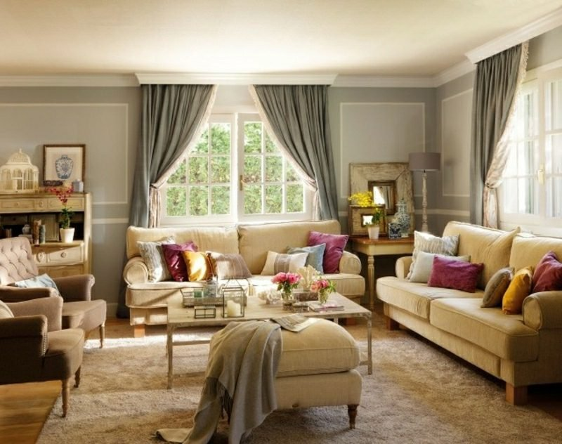 Wohnzimmer gestalten Landhausstil herrlicher Look