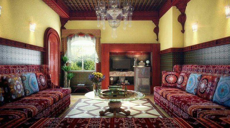 Wohnzimmer gestalten exotischer Look marokkanischer Stil