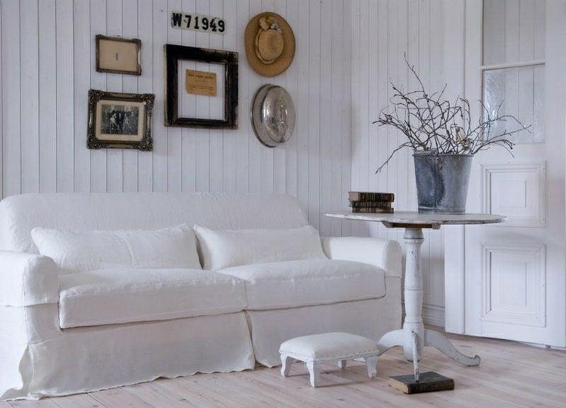 Wohnzimmer gestalten Landhausstil Farbgestaltung weiss elegant stilvoll
