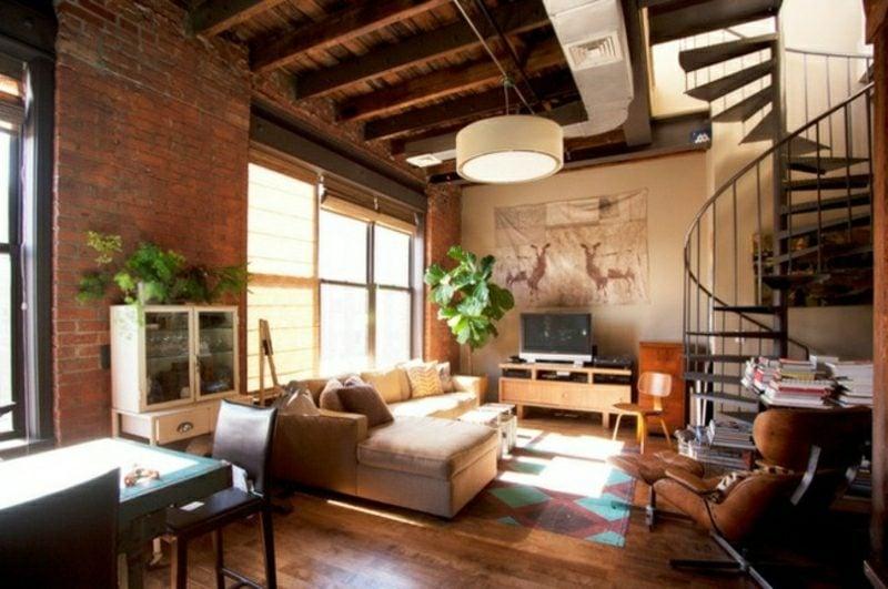 Wohnzimmer gestalten originelle Stahltreppe industrieller Stil