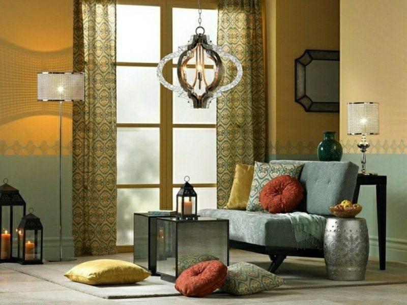Wohnzimmer gestalten marokkanischer Stil Kronleuchter originell orientalisch Laterne