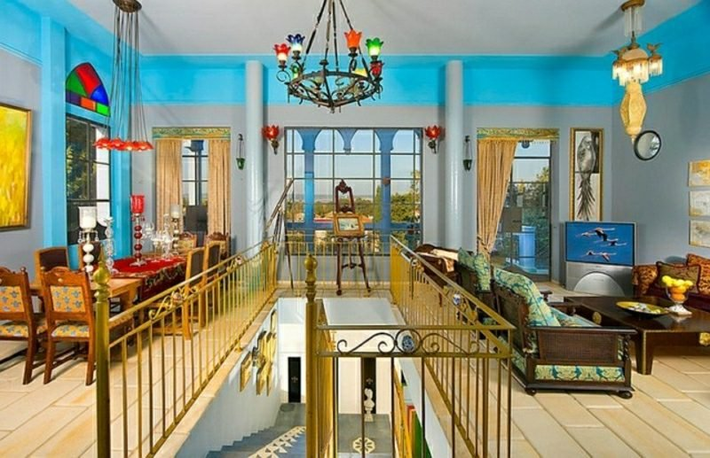 Wohnzimmer gestalten Treppe marokkanischer Stil zauberhafter Look