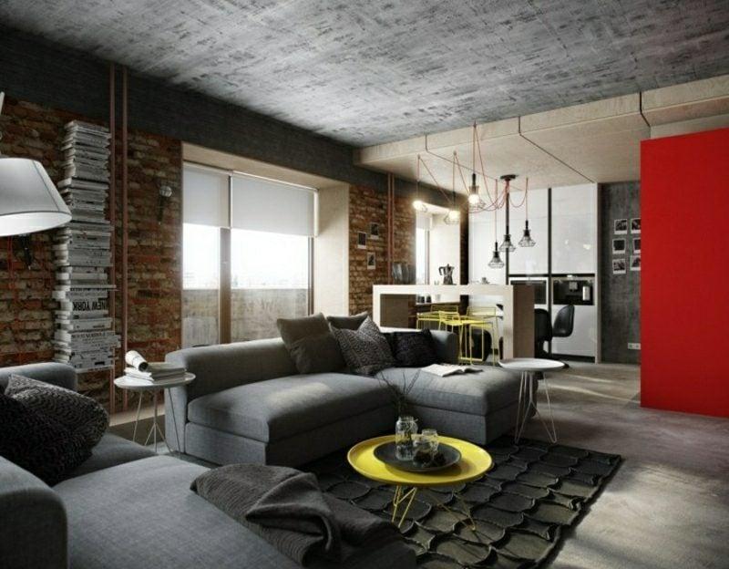 Wohnzimmer gestalten industrieller Chic Decke Betonoptik