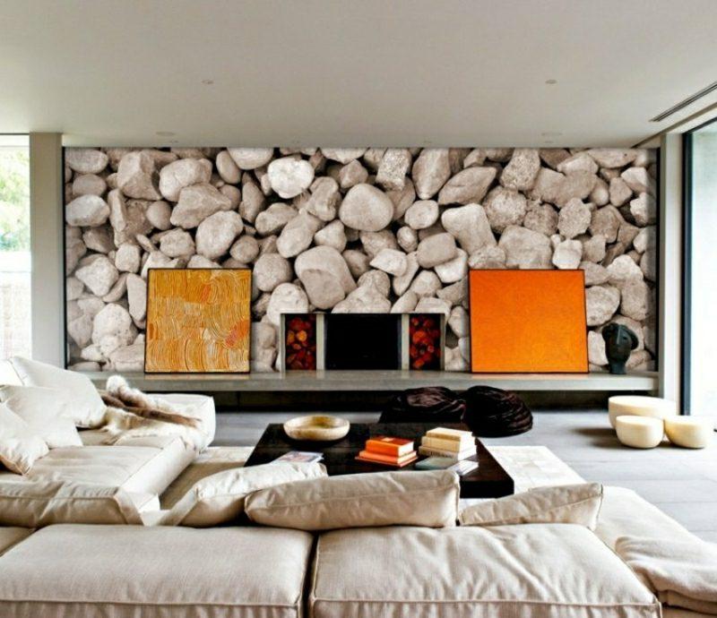 Wohnzimmer gestalten skandinavisch Akzentwand Fototapete Steine