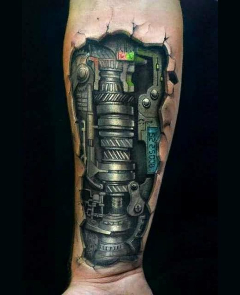 3d biomechanical tattoo biomechanik arm tattoo