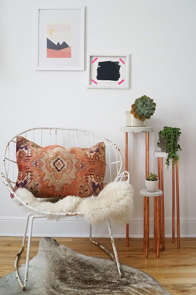 diy wohnideen in kupfer farbe und blumenampel anleitung diy innendesign zenideen. Black Bedroom Furniture Sets. Home Design Ideas