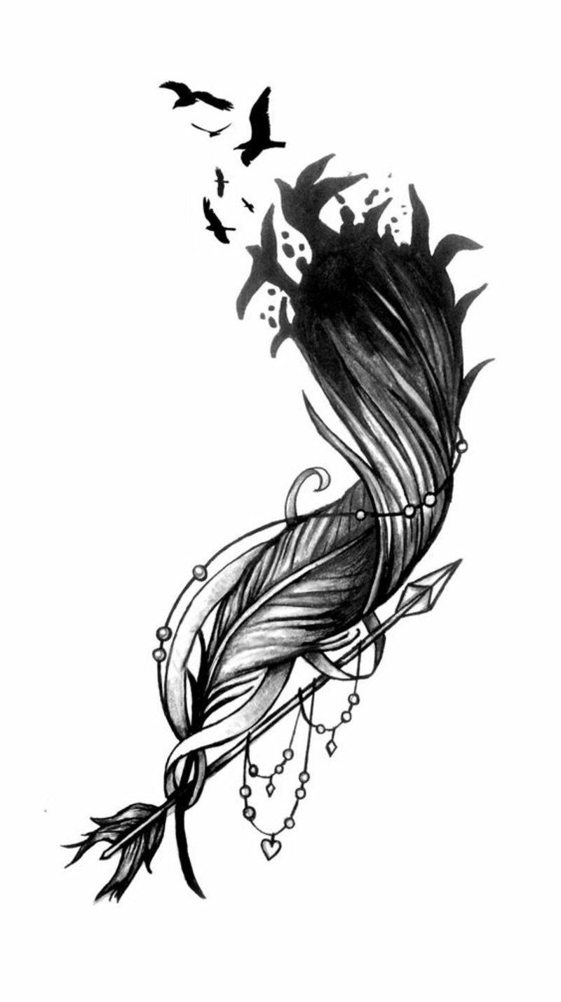 tattoo feder mit vögel