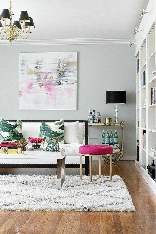 wohnzimmer einrichten wohnideen teppich hocker sofa wand