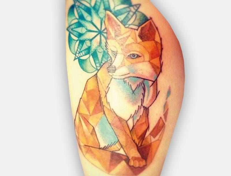 Fuchs Tattoo geometrie