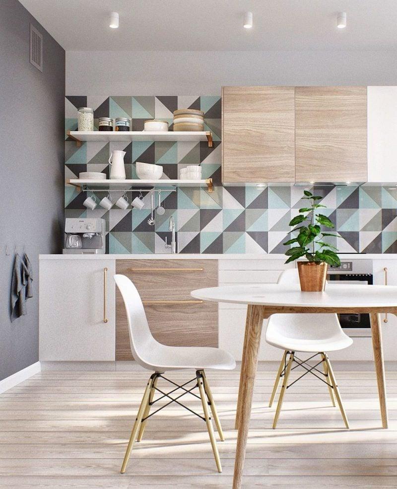 Geometrische Formen als Wandgestaltung in der Küche