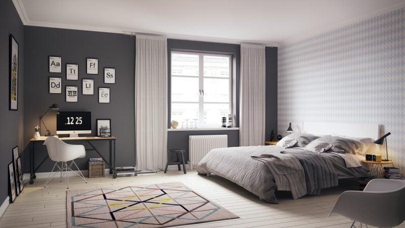 schlafzimmer einrichten skandinavischer stil ideen farben teppich bett gardinen