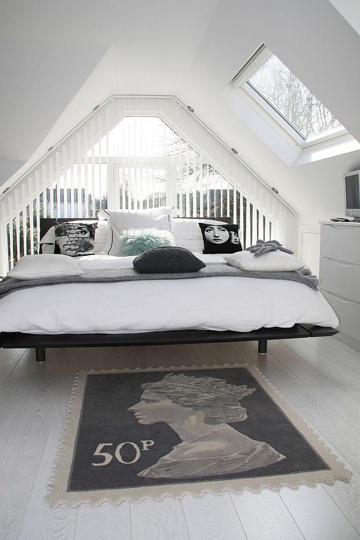 modernes schlafzimmer gestalten weiß teppich bett deko kissen
