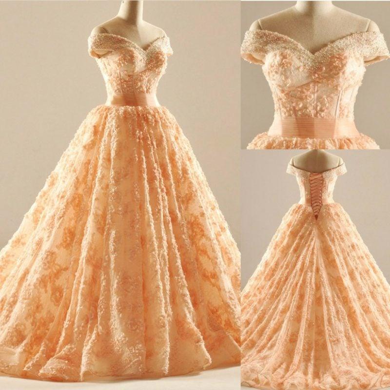 Brautkleid Apricot Farbe vintage Stil