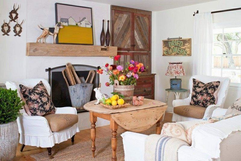 Wohnzimmer gestalten herrliches Design Landhausstil