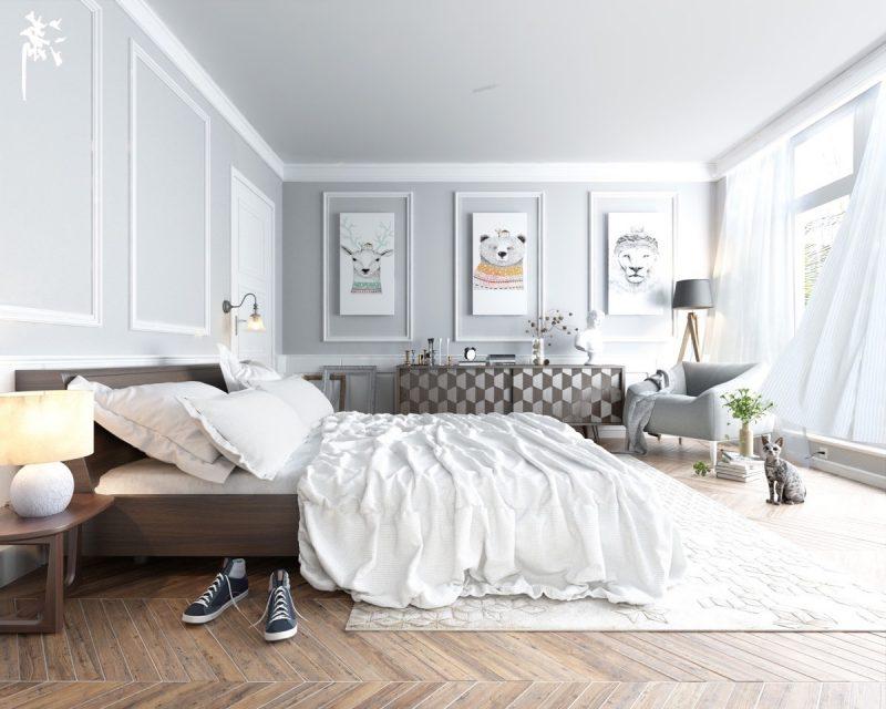schlafzimmer gestalten einrichtungsideen skandinavischer stil bett aus holz wandgestaltung teppich nachttisch