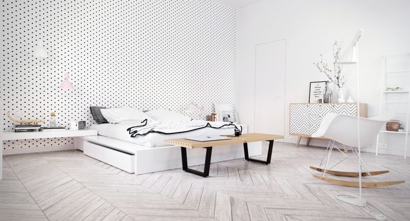 schlafzimmer ideen schlagzimmer design weiß bett sessel wandgestaltung lampe