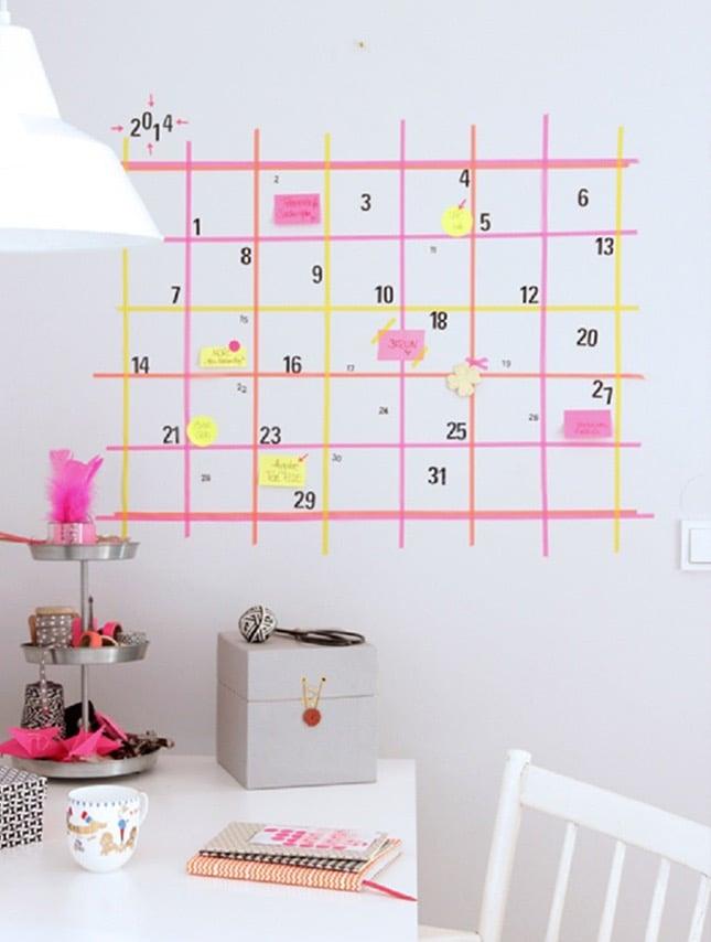 wände gestalten ideen washi tape kalender wandgestaltung