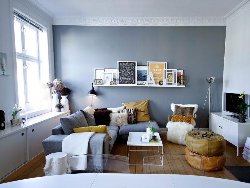 Einrichtungsideen Wohnzimmer Gestalten Möbel Sofa Hocker Deko Kissen