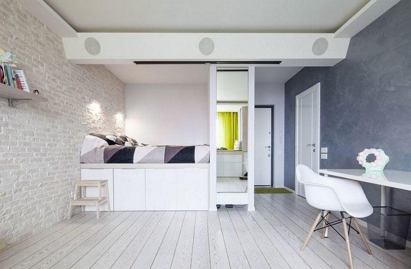 schlafzimmer einrichten ideen skandinavischer stil bett stuhl nachttisch möbel
