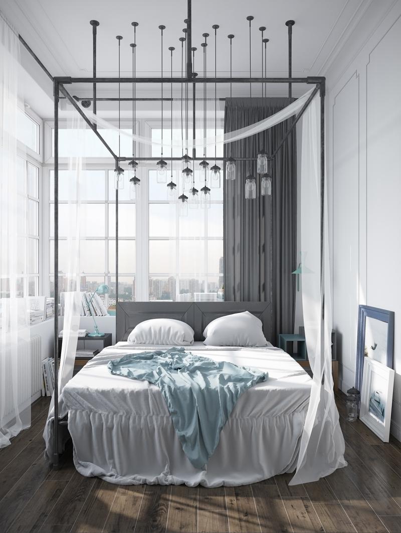 schlafzimmer skandinavisch gestalten ideen bett kissen lampe beleuchtung gardinen