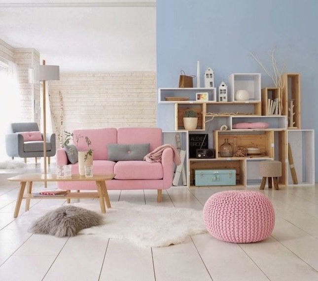 Kleines Wohnzimmer Einrichten Ideen Möbel Rosa Farben