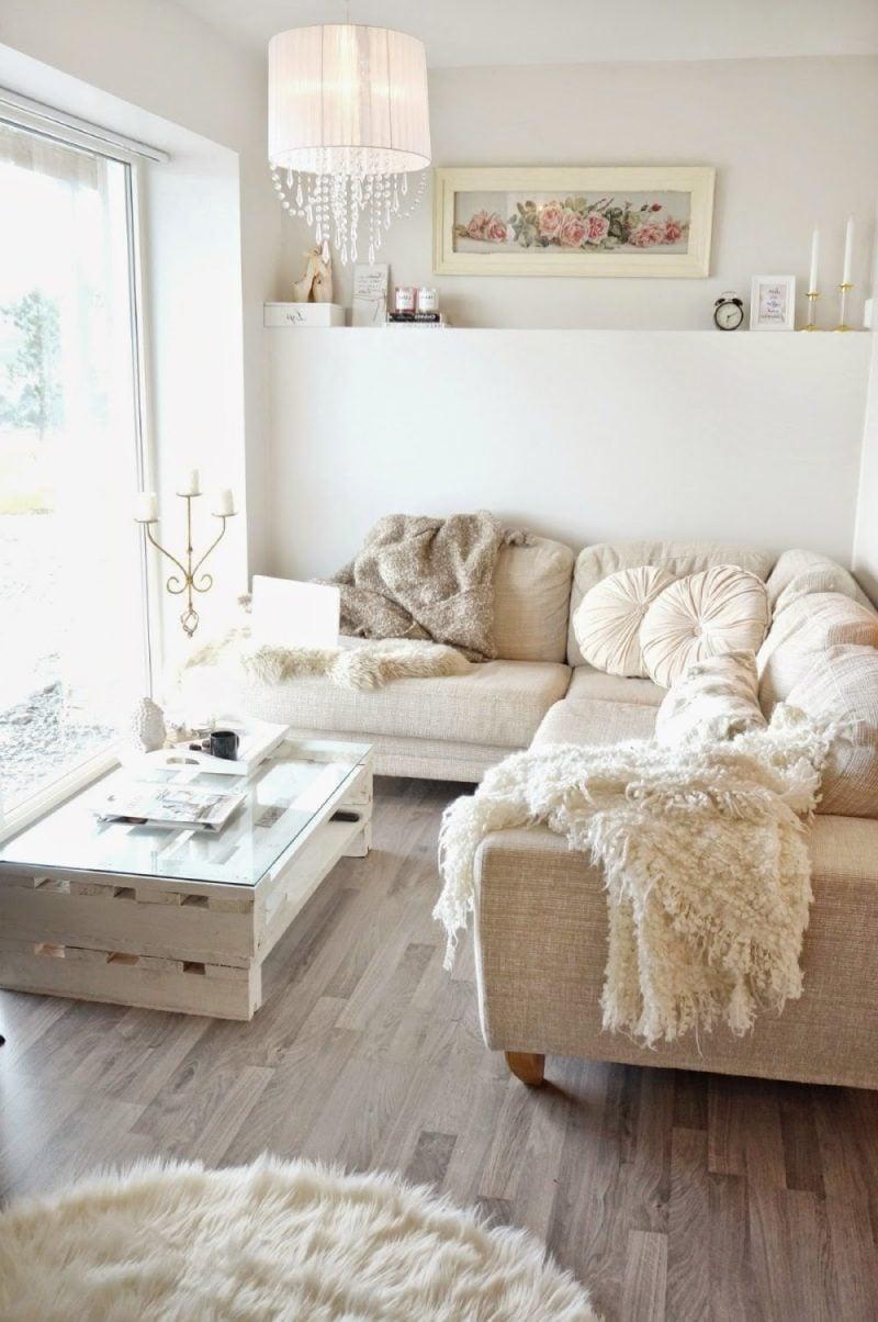 wohnzimmer einrichten ideen helle farben ecksofa beige