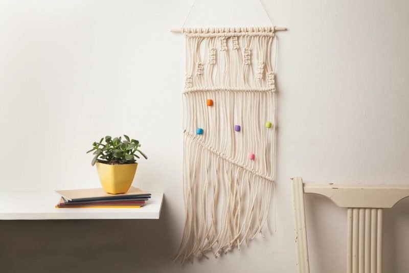 wandgestaltung wohnzimmer ideen wandteppich anleitung makramee wandbehang selber machen