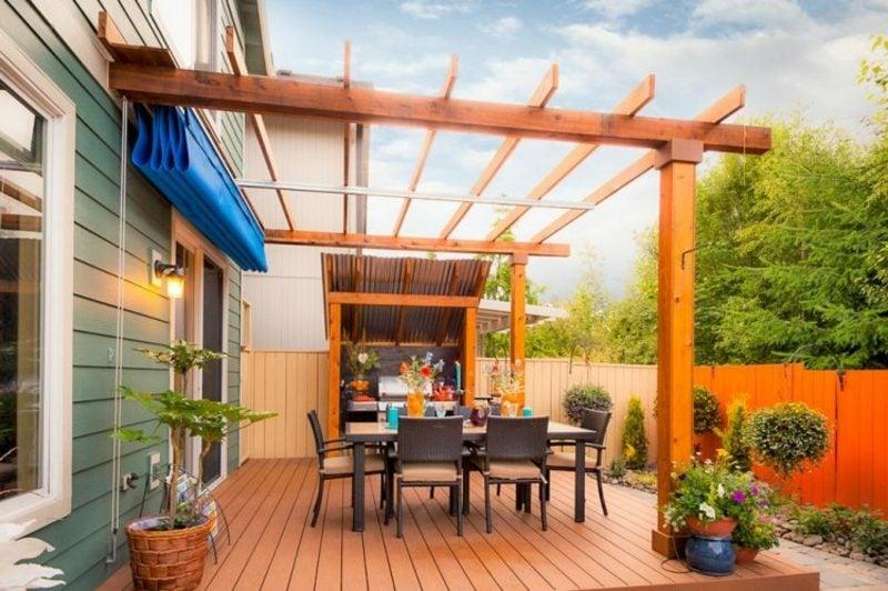 Terrassenüberdachung als Wandbau moderne Ideen Terrassengestaltung