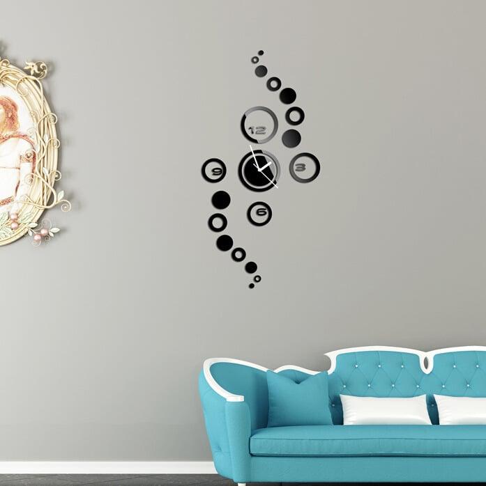 wandgestaltung ideen wohnzimmer wanduhr