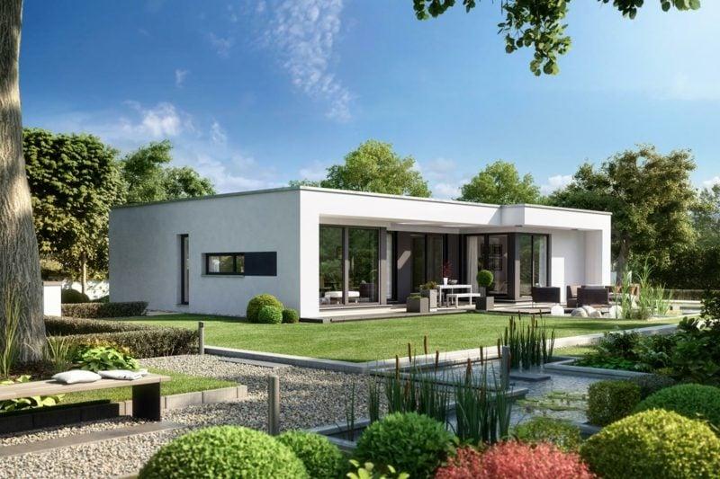 moderne Häuser Fertighaus weiss mit Garten