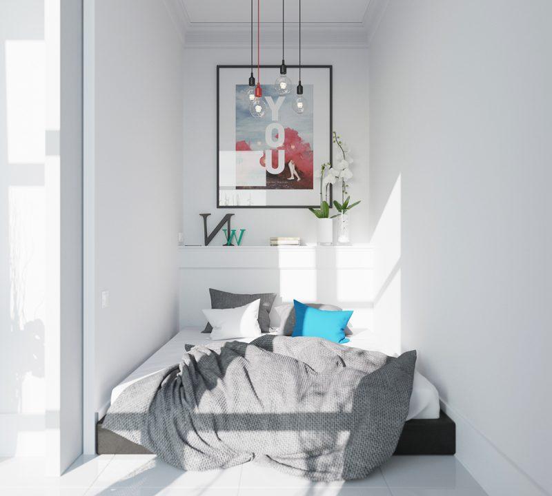 schlafzimmer design skandinavischer stil ideen bett kissen bild wandgestaltung beleuchtung