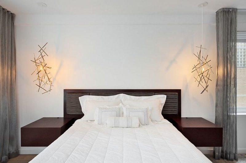 schlafzimmer einrichten ideen luxus skandinavischer stil bett lichtquellen