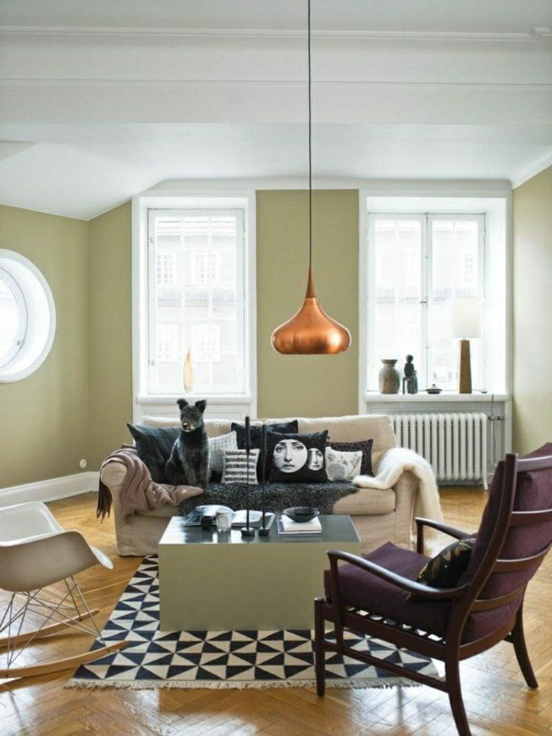 Wohnzimmer gestalten skandinavischer Stil Pastellfarben originelle Lampe