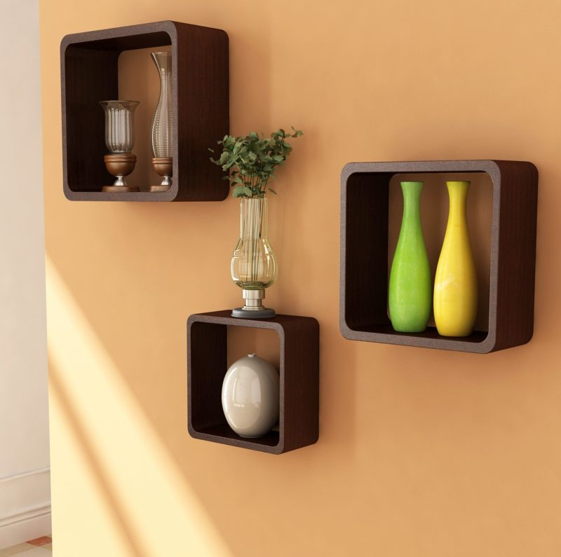 Wandgestaltung wohnzimmer ideen regal wand deko