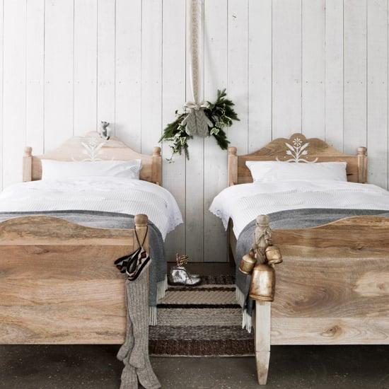 schlafzimmer design ideen skandinavischer stil bett holz teppich