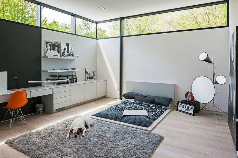 modernes schlafzimmer einrichten ideen skandinavischer stil möbel teppich spiegel licht helle farben