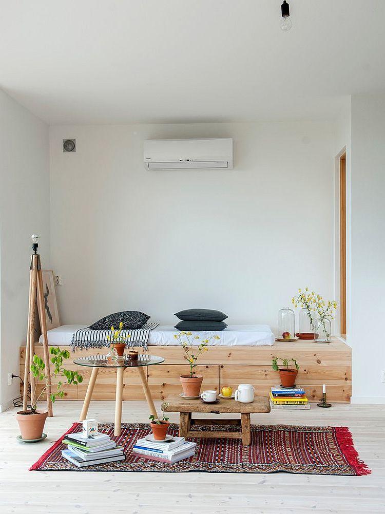 schlafzimmer gestalten einrichtungsideen bett aus holz minimalismus skandinavischer stil
