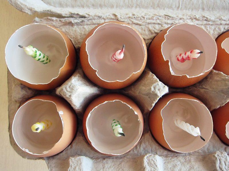 bastelideen ostern osterbasteleien osterkerzen aus eierschalen basteln anleitung