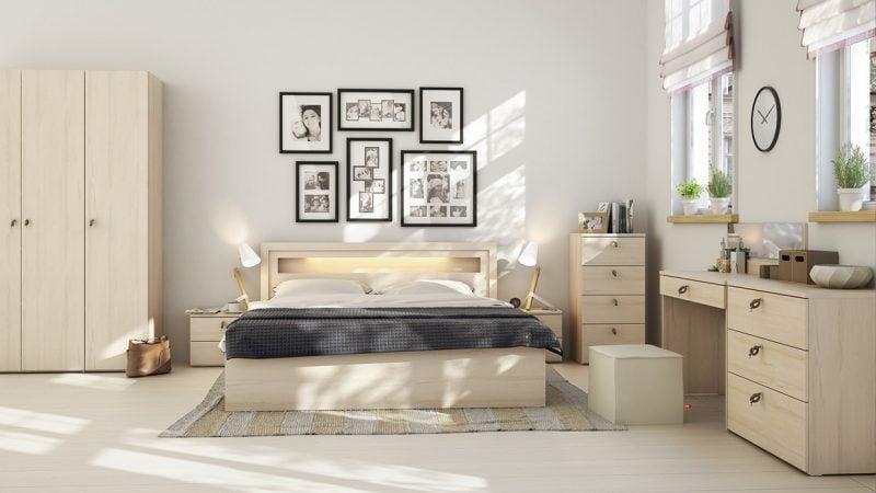 schlafzimmer design einrichtungsideen skandinavischer stil beige farben wabdgestaltung
