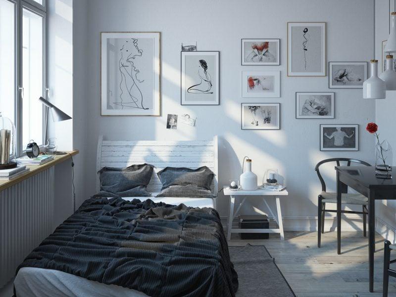 schlafzimmer einrichten ideen weiß grau farben wandgestaltung bilder bett aus holz