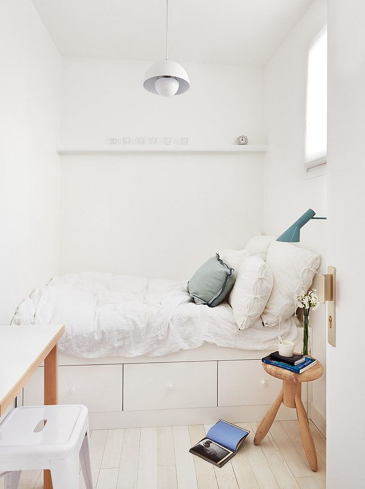 kleines schlafzimmer einrichten skandinavischer stil ideen bett weiß