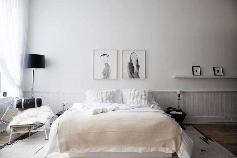 schlafzimmer skandinavische gestalten weiß farbe bett sessel