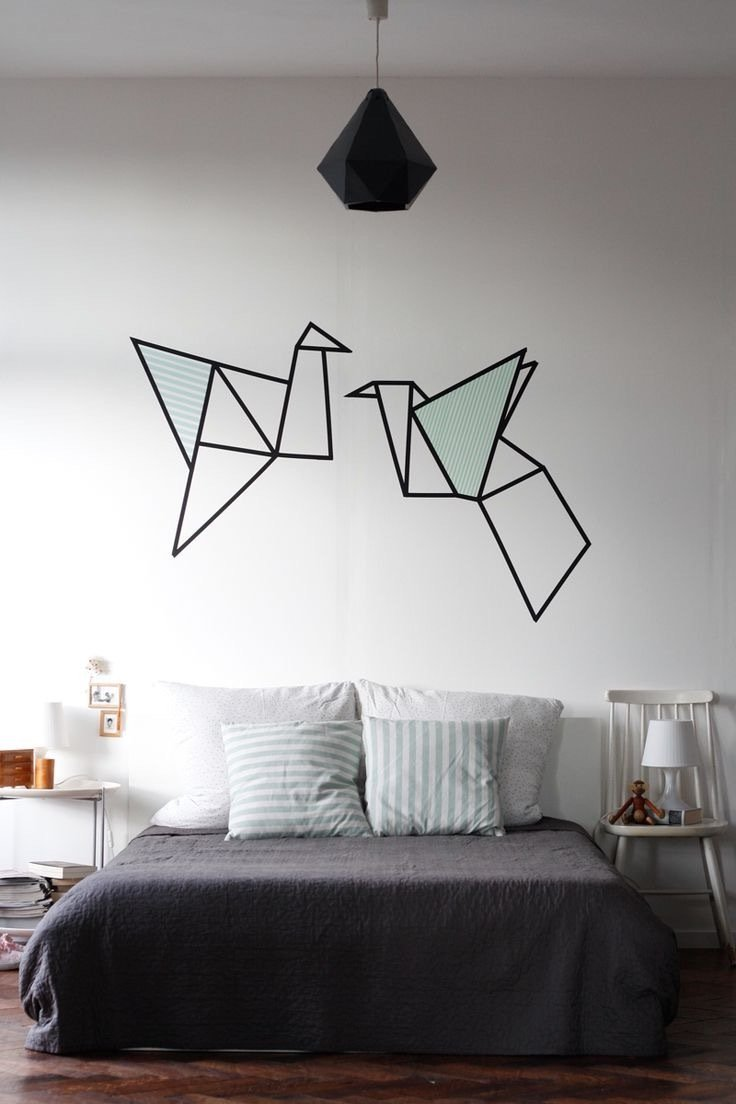 wände gestalten washi tape diy wandgestaltung selber machen schlafzimmer ideen
