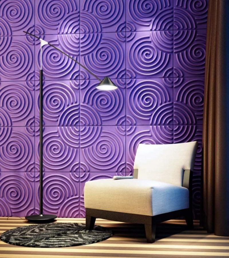wandgestaltung wohnzimmer ideen farben lila