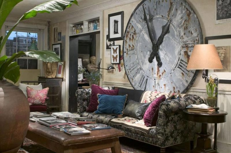 wandgestaltung wohnzimmer ideen wanduhr