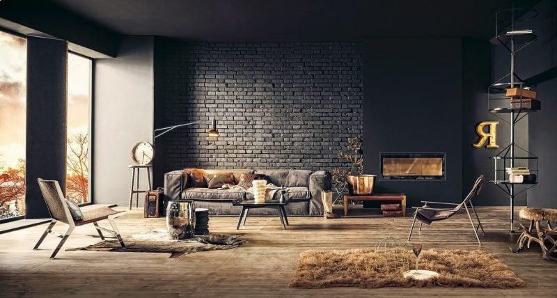 Wandgestaltung Wohnzimmer Ideen Schwarz Farbe