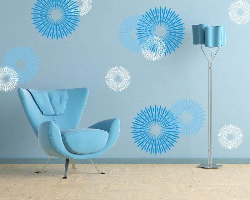wandgestaltung wohnzimmer ideen blaue farbe