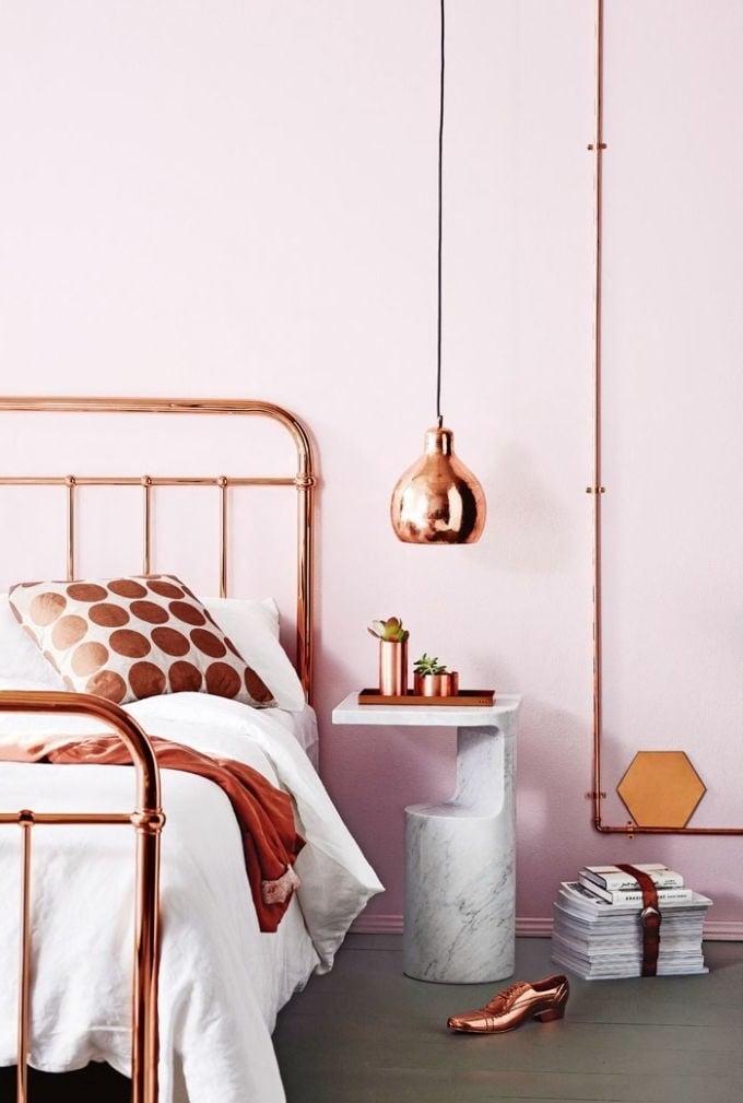 schöne wohnideen einrichtungstipps einrichtungsideen möbel lampenschirm bett wohnzimmer ideen kupfer garten und wohnen